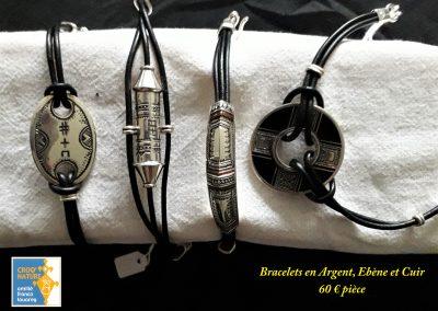 planche n°5b_bracelets en argent ébène et cuir